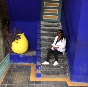 Lavonne at Le Jardin Majorelle in Marrakech Morocco